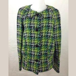 Leifsdottir Pixel Hexagon Wool Blend Button Jacket